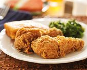 fried chicken with collard greens and corn bread