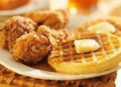 fried chicken and waffles shot in panoramic format