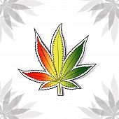 Cannabis leaf with rastafarian flag colors