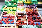 BELLINZONA, SWITZERLAND - JULY 4, 2014: Fruit Stand Farmers Market Bellinzona. The Saturtay event ta