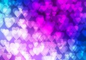 Abstract background image with bokeh lights and hearts