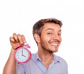 funny man reminding with big clock hurry up