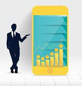 Businessman showing touchscreen device with graph and Infographic design template. Vector illustrati