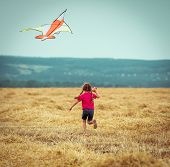 happy little girl witha kite in a field