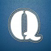 Denim jeans letter Q - vector illustration