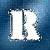 Denim jeans letter R - vector illustration