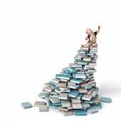cute child on pile of books