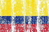 Colombian grunge flag. Vector illustration.