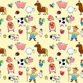 Funny farm animals with background. The sides repeat seamlessly for a possible packaging or graphic