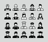 stock photo of fireman  - People occupations icons - JPG