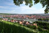 City skyline with river and bridge. Wurzburg, Germany