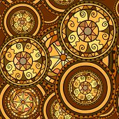 Seamless Pattern. Circles With Decorative Swirls. Drawn By Hand. Vector Background In Brown And Gold