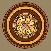 Circle With Decorative Swirls. Drawn By Hand. Vector Gold In Brown Shades.