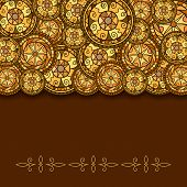 Circles With Decorative Swirls And Shadow. Drawn By Hand. Vector Background In Brown And Gold Shades