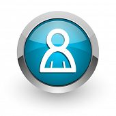 person blue glossy web icon