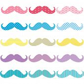Colorful Mustache Pattern Set