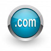 com blue glossy web icon