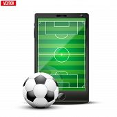 Smartphone With Football Ball And Field On The Screen.