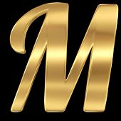Golden shining metallic 3D symbol letter M - isolated on black.