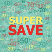 Super save background with percent discount pattern.