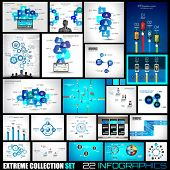 Collection of 25 Infographics for technology and clouds ranking Flat style UI design elements for yo