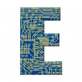 Letter From Electronic Circuit Board Alphabet On White Background - E