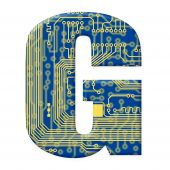 Letter From Electronic Circuit Board Alphabet On White Background - G