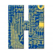 Letter From Electronic Circuit Board Alphabet On White Background - H