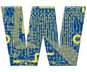 Letter From Electronic Circuit Board Alphabet On White Background - W