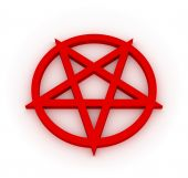 picture of baphomet  - Red 3D pentagram on white plane  - JPG