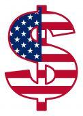 USA flag inside dollar symbol