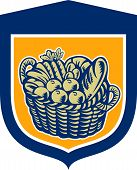 Crop Harvest Basket Shield Woodcut