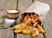Baked Potato Wedges In Paper Bag