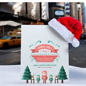Merry christmas message against blurry new york street