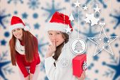 Mother and daughter with gift against snowflake pattern
