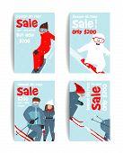 Skier and Snowboarder Fun Winter Sport Flyer Design Template