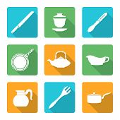 flat style white dinnerware icons set