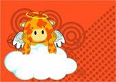 baby giraffe angel cartoon background