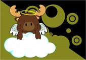 baby reindeer angel cartoon background