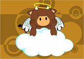 baby bull angel cartoon background