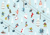 Ski Resort Seamless Pattern with Snowboarders and Skiers