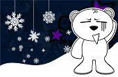 funny polar bear cartoon xmas background