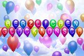 German Congratulations Balloon Colorful Balloons