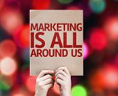 Marketing is All Around Us card with colorful background with defocused lights
