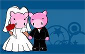 pig married cartoon background