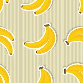 Banana Pattern. Seamless Texture With Ripe Bananas