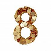 Alphabet Number Digit Eight 8 With Golden Coins Isolated On White Background