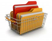 Shopping Basket and Folders (clipping path included)