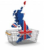Shopping Basket and UK map (clipping path included)