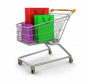 Shopping Cart and Bags  (clipping path included)